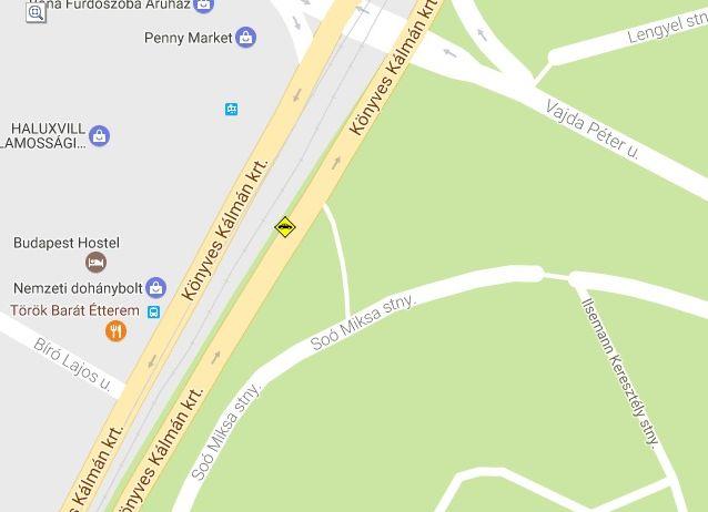 A baleset pontos helyszíne sárgával jelölve